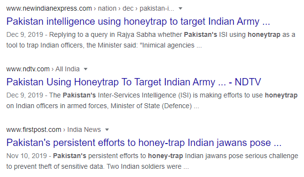 Image: Newsfeeds showing the use of 'honey trap' cases