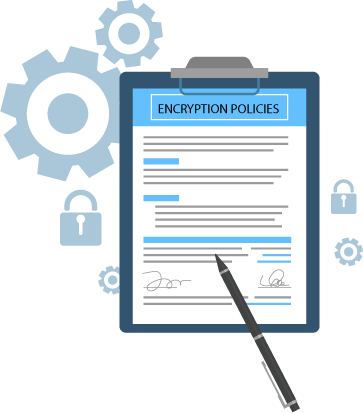 Vector image of clipboard with text highlighting 'encryption policies'